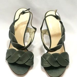 Valentino leather high heel sandals green size 7.5